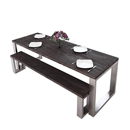 Table de salle à manger carrée en acier inoxydable   Fabriquée à la main en bois massif recyclé de style industriel Loft