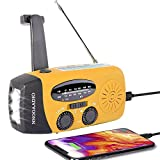 Wind Up Solar Radio, Survival Hand Crank Dynamo AM/FM Emergency Weather Radio, with Rechargeable USB Phone Charger, LED Bright Flashlight, use for Household and Outdoor Camping, Hiking