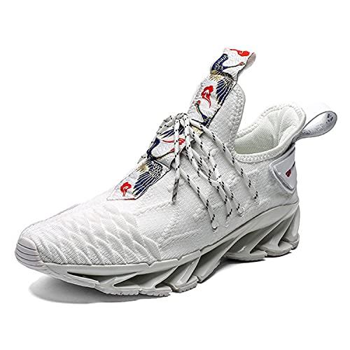 WJFGGXHK Zapatillas De Running para Hombre, Hi Top Trainers De Baloncesto Casual Moda para Caminar Zapatillas De Deporte Liviano,Blanco,39