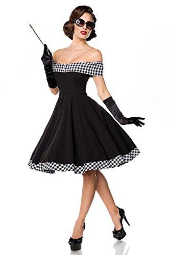 Belsira schulterfreies Swing-Kleid - schwarz/weiss, Größe:2XL