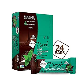 NuGo Dark Mint Chocolate Chip 13g Vegan Protein 200 Calorie Gluten Free 24 count