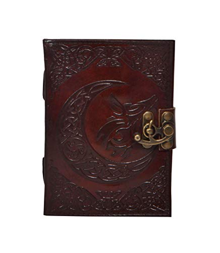 Handmade book of shadows journal blank Leather Journal Celtic Embossed Moon Wolf Personal Organizer Day Planner Book Of Shadows Travel Diary Unlined Paper Writing Notebook 7x5 Inches For Men Women