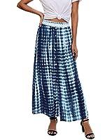 PRETTYGARDEN Women's Bohemian Tie Dye Print Long Skirts Button Down High Waist Split A-Line Maxi Skirt (Navy, Medium)