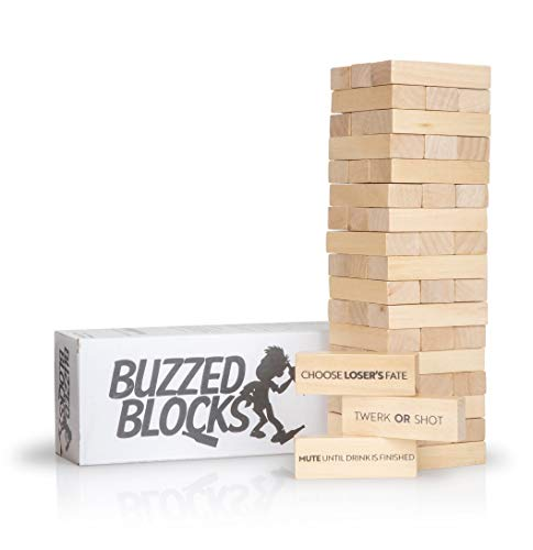 Buzzed Blocks Adult Drinking Game - 54 Blocks with Hilarious Drinking Commands and Games on 40 of...