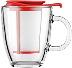 BODUM YO-YO Glass Mug with Tea Strainer, 0.35L, Red