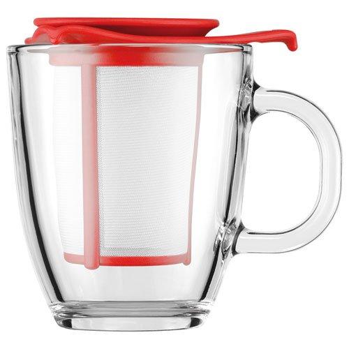 Bodum YO-YO glazen mok met plastic filter (0,35 liter) rood