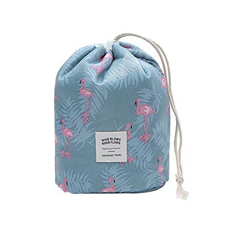 Lovemay Sac cosmétique de cylindre floral de style de flamant bleu de style de 23X17CM