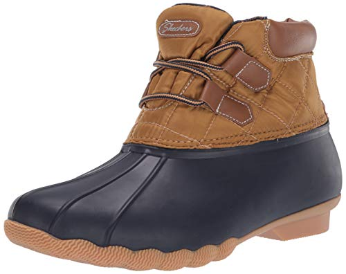 Skechers Damen Hampshire Ridge-Mid Quilted Lace Up Duck Boot with Waterproof Outsole Regenstiefel, Marineblau/Tan, 38 EU