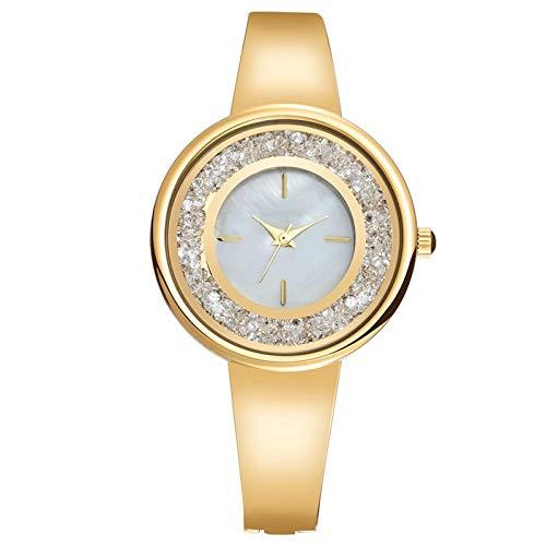 Haoooan Reloj Boys De Las Mujeres Coloridas del Rhinestone De La Plata del Acero Los Relojes De Manera De Oro Rosa Azul Pulsera De Reloj De Señora del Reloj del Cuarzo (Color : A)