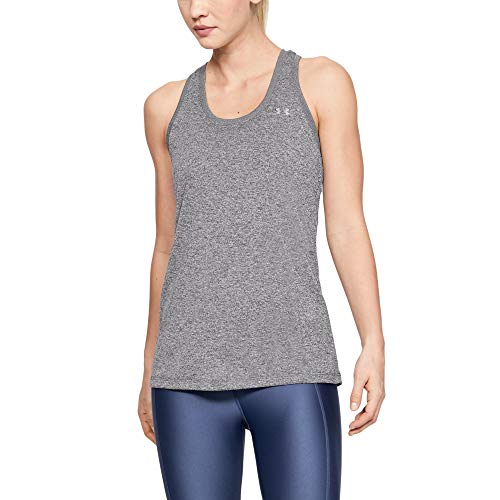 Under Armour Women's Tech Solid Tank Top , Charcoal Light Heath (019)/Metallic Silver , X-Small