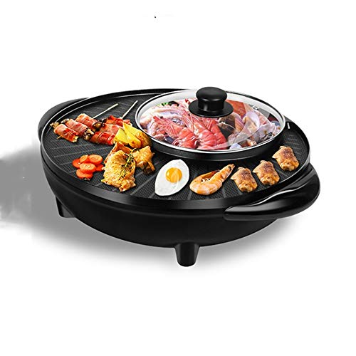 New Teerwere Grill and Griddle Grill and Griddle Household 2.3L Multi-Function Double-Layer Non-Stick Electric Barbecue Pot Indoor Searing Grill (Color : Black, Size : Plus Size30cm)