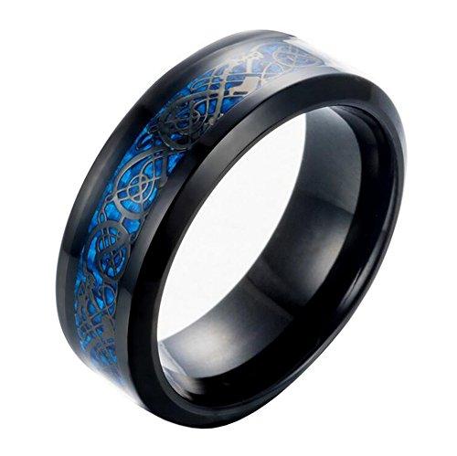 HIJOJES Hombre Acero Inoxidable Celta Dragón Azul De Fibra De Carbono Negro Anillo De Boda 8MM Tamaño 22