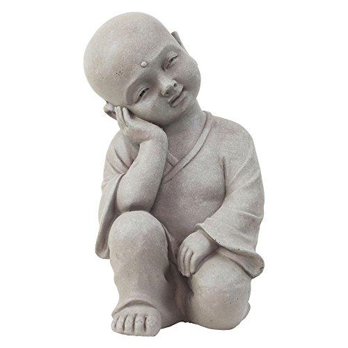 Garten Deko Figur Shaolin Mönch Buddha Denkend Stein Effekt in Grau - 40cm Hoch