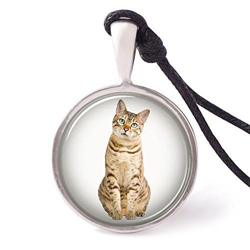 Vietguild Bengal Cat Necklace Pendants Pewter Silver