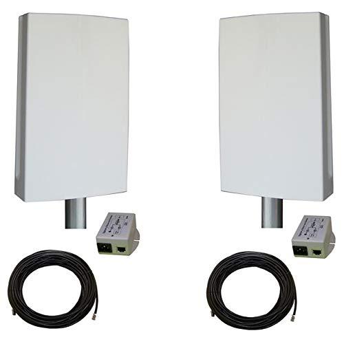 """EZ-Bridge-LT5+ HD 100MB, 5GHz 802.11an Pt/Pt Secure Bridge Pair, Shield Outdr 75' CAT5 Cables + Surge Prot 24V PoE Ins, Plug n Play, 25dBm Out + 14dB Ant, 3mi Range, Wall/Pole(1-2"""") Mt Brckts, 4W Pwr"""