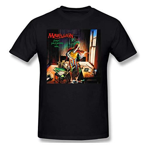 Marillion Soft Man Tops Short Sleeve Pattern T-Shirt Black,Black,Large