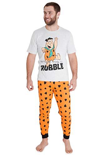 the flintstones Pijama Hombre, Pijama Hombre Invierno de Algodon, Conjunto 2 Piezas de Los Picapiedra, Regalo para Hombre y Adolescente Talla M-2XL (XXL)
