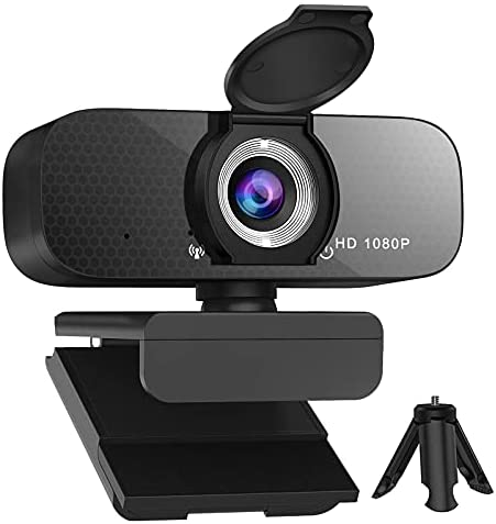 Webcam 1080p HD Computer Camera-in Microphone and Rotatable Tripod, Privacy Cover, 1080P Video, Wide Angle Camera, for Desktop PC or Laptop Computer, Great for Video Conferencing, Live Streaming