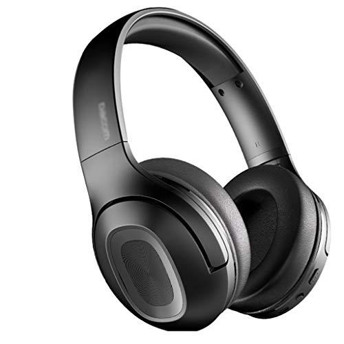 HBR Auriculares Auriculares Bluetooth inalámbricos sobre Auriculares para la Oreja V5.0 con micrófono Plegable y liviano para celulares portátil (Rojo/Negro) (Color : Black)