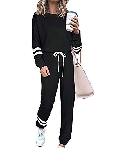 Survêtement Femme 2 Pièce Ensembles Tenue Pantalon Casual Jogging Pyjama Sports Sportswear Quatre Saisons Noir M