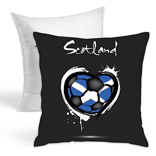 Bandera de Escocia en el corazón clásico soporte de poliéster para sala de estar, almohada ideal incluida, almohada de sujeción, cama de campamento