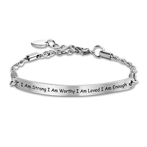 G-Ahora I Am Enough Chain Bracelet I Am Strong I Am Worthy I Am Loved I Am Enough Strength Bracelet Inspirational Bracelet Encouragement Jewelry(Enough CBR)