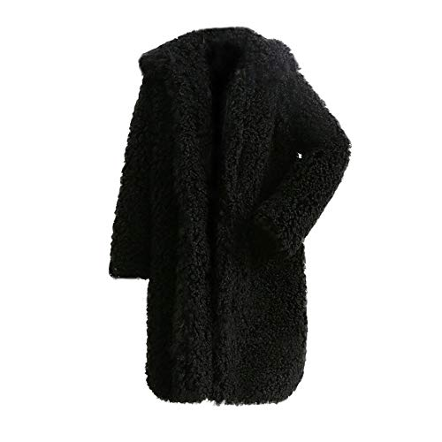 Geili Damen Mantel Winter Elegant Warm Faux Fur Kunstfell Jacken Cardigan mit Reverskragen Frauen Übergrößen Fleecemantel Modern Lang Dicke Coat Parka Wintermantel Outwear