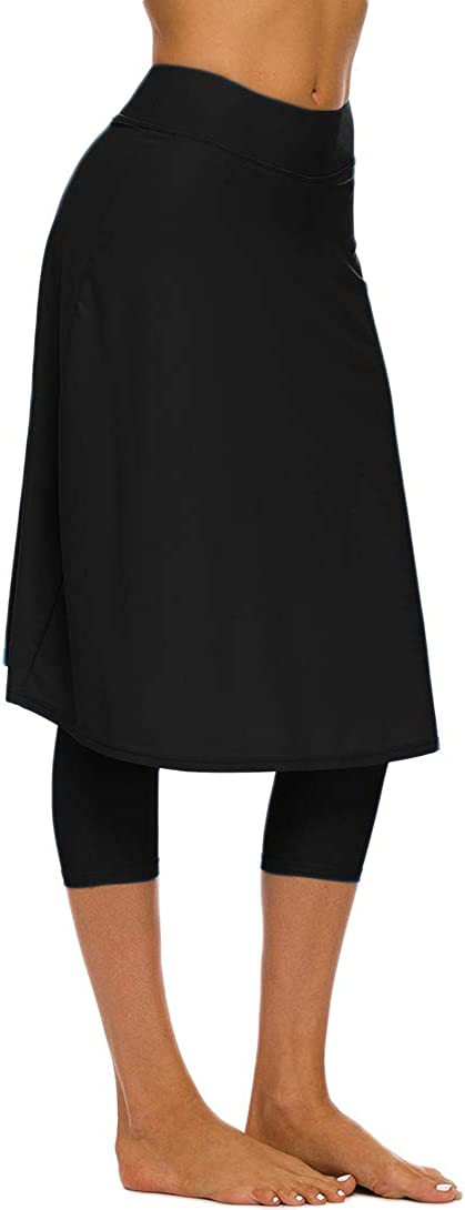 Micosuza Long Swim Skirt with Attached Leggings Modest Sun Protection Sports Skirt for Women