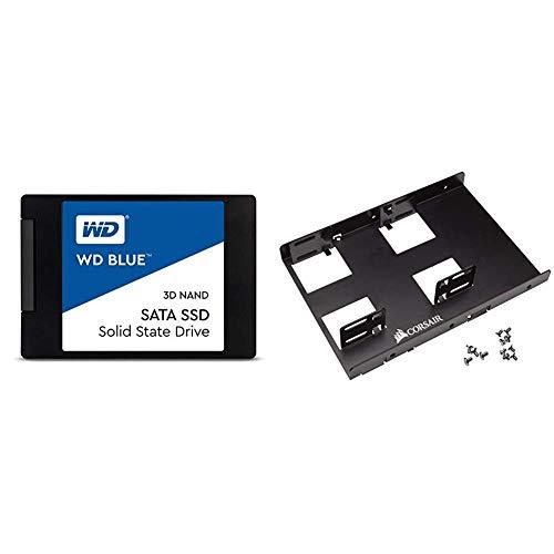 WD Blue 3D NAND 500GB PC SSD - SATA III 6 Gb/s, 2.5'/7mm - WDS500G2B0A & Corsair Dual SSD Mounting Bracket 3.5' CSSD-BRKT2