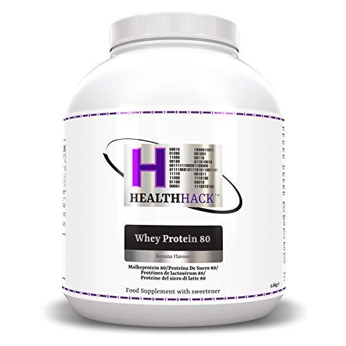 Health Hack - Proteína de suero de leche 80 %, 2,5 kg, plátano