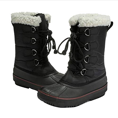 Great Deal! Hadeflia Winter Boys Girls Snow Boots Outdoor Waterproof Mid Calf Boots Thicken Fur Line...