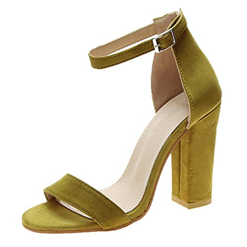 Best Price LINYIOU77 High Heel Sandals for Women Summer Buckle Strap Square Heels Open Toe Breathabl...