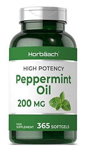 Peppermint Oil 200mg | 365 Softgel Capsules | Essential Digestion Support & Fresh Breath | 1 Year Supply | Non-GMO, Gluten Free Supplement