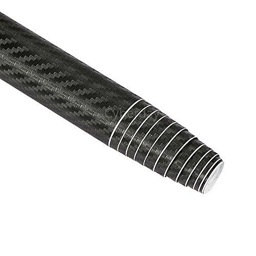 Rouleau de pellicule de fibre de carbone 3D bricolage autocollant feuille pour voiture véhicule décor 152x50 cm (noir)