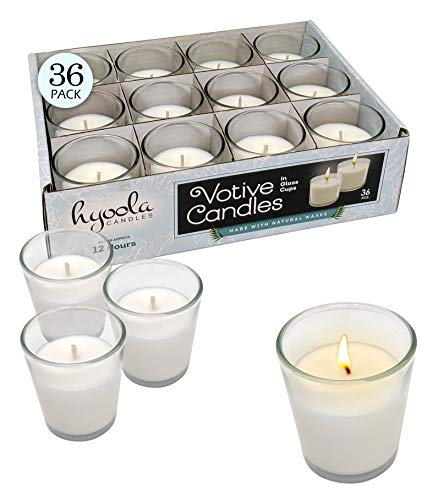 White Votive Candles - 36 Pack - Clear Glass Cups, Unscented, Long 12 Hour Burn Time - for Party Decorations, Birthday, Wedding and Dinner Centerpieces - Hyoola