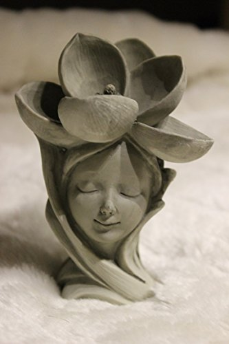 Blumenkind Magnolie, H 12 cm, aus Resin, betonfarben, z. Aufstecken auf Stab, Lieferung ohne Stab