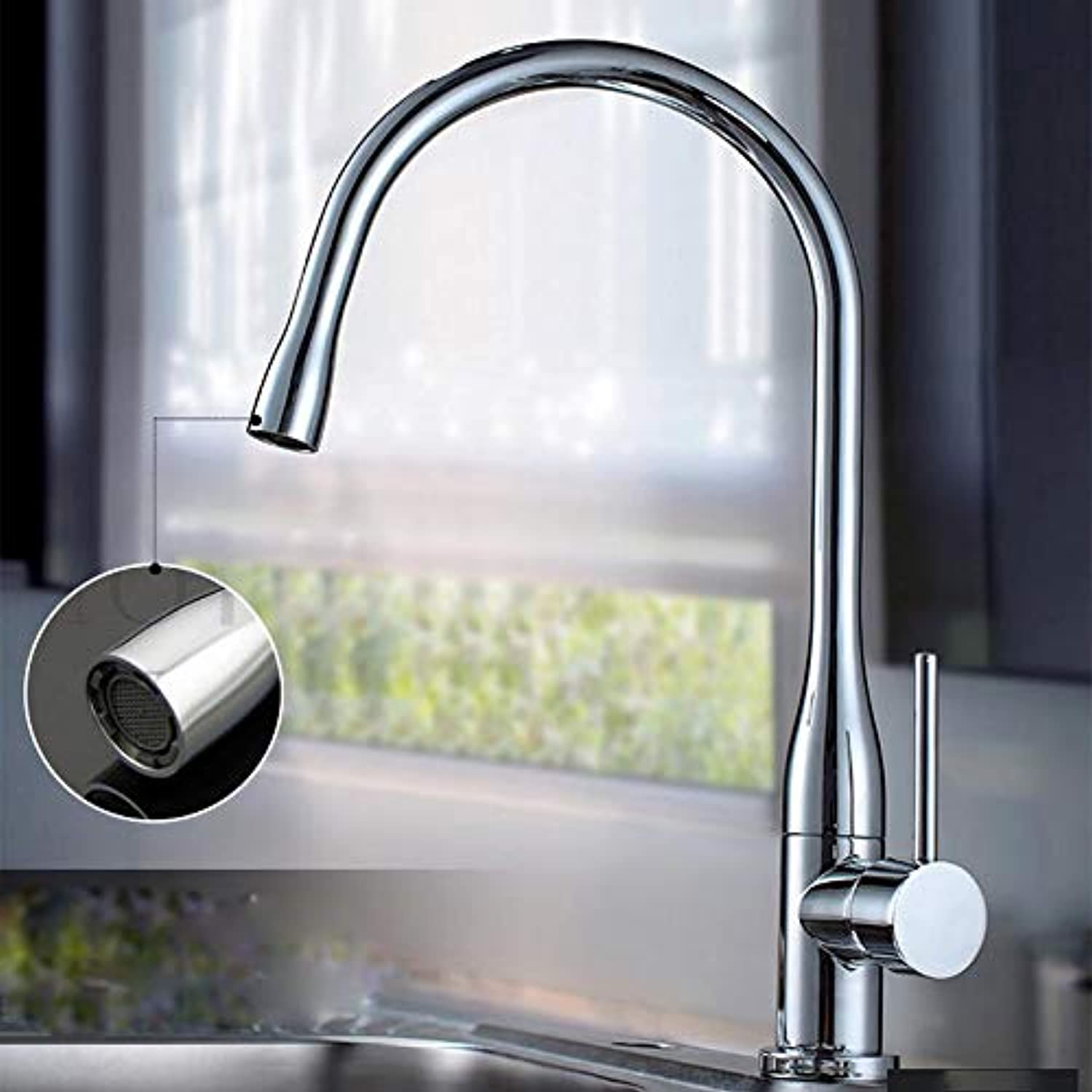 YAWEDA Chrome Brass 360 Swivel Steam Spout Kitchen Faucet redated White Painting Nicekel Brushed Kitchen Vessel Sink Mixer Tap,Chrome Brass