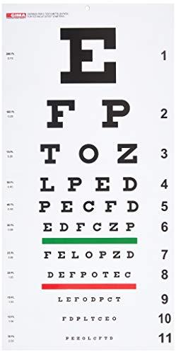 GIMA - Tavola Optometrica 'Snellen' Tradizionale, Dimensioni 28 x 56 cm, Distanza 6,1 m