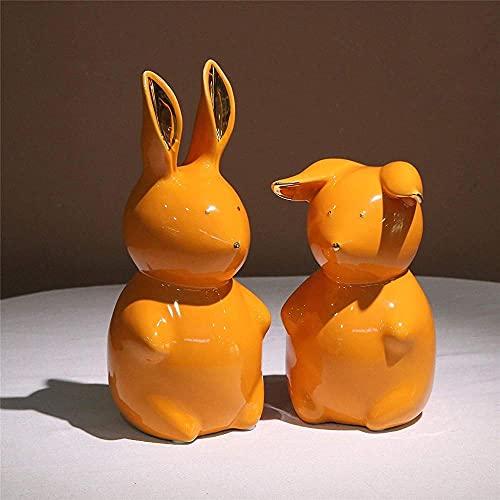 Juego de 2 estatuillas de Conejo pequeñas para niños pequeños, estatuas de jardín para decoración del hogar / Oficina, Regalos de Pascua de cerámica Naranja-Naranja