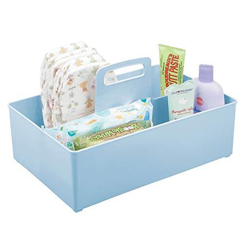mDesign Cesta organizadora Extragrande para Cuarto de bebé – Práctica Caja con asa y 2 Compartimentos, sin Tapa – Organizador de Juguetes, pañales, Peluches y más en plástico sin BPA – Azul Claro