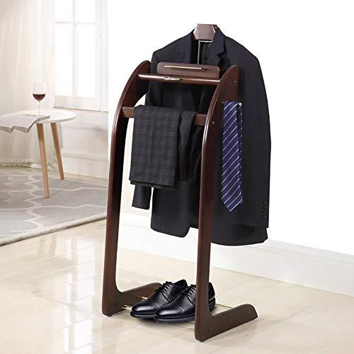 LOHOX Galán de Noche Mueble Madera Maciza para Colgar Camisas, Pantalones Baño Oficina Dormitorio para Hombre - Al x An x Pr:101,6X 43,2 x 35,6 cm