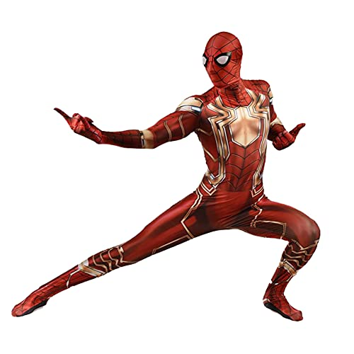 FLJLGY Niños Iron Spiderman Monos Disfraz Cosplay para niños Mono Halloween Mono para Hombre Espectáculo Medias una Pieza Disfraces navideños Onesies Leotardo,Red-Adult 3X 190~200cm