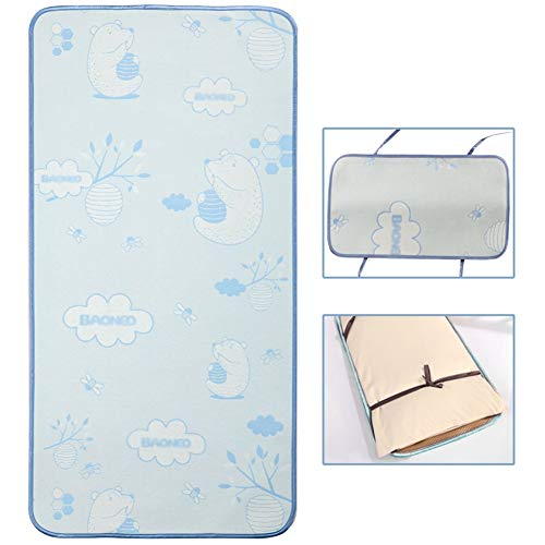 YJFENG Mat, Baby Cool Without Ice Smooth And Soft Sweat-absorbing And Breathable Sleep Naked Custom Made Kindergarten Children Bed Children (Color : A Blue, Size : 50x150cm)