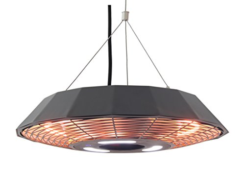 Ener-G+ Hanging Infrared Electric Outdoor Heater with LED Light & Remote, HEA-21568-BK, Black
