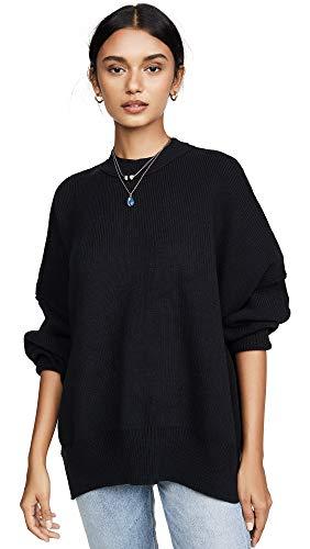 Free People Women's Easy Street Tunic Sweater, Black, Large