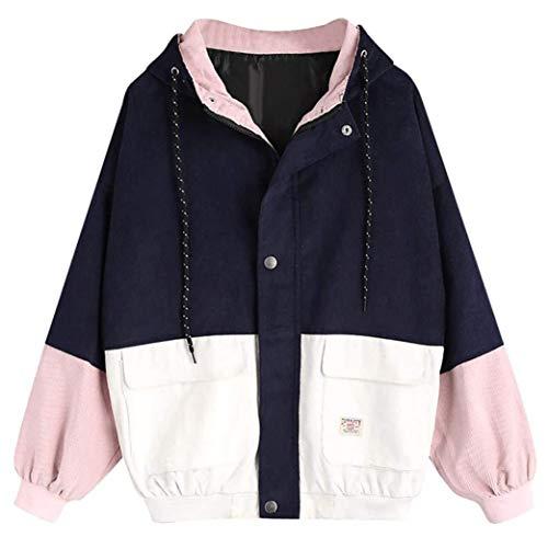 Showlovein Mantel Damen, Jacke Cord Oversize Kapuzenjacke Hoodies Sweatshirt Patchwork Windjacke Warm Herbst Winter Mantel