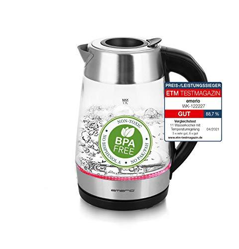 Emerio WK-122227 Glas Wasserkocher mit SMART EASY FILL Funktion, Temperaturwahl (60°C/70°C/80°C/90°C/100°C), BPA-frei, Trockengehschutz, Auto-Off, 2200 Watt, 1.7 liters, Silber/Schwarz