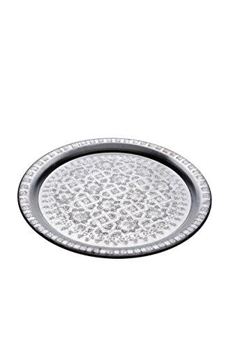 Orientalisches rundes Tablett aus Metall Amana 37cm | Marokkanisches Teetablett rund in der Farbe Silber | Orient Silbertablett silberfarbig | Orientalische Dekoration auf dem gedeckten Tisch