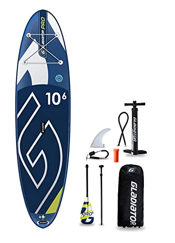Gladiator PRO 10\'6 SUP Stand-Up-Paddle-Board – Premium-Paket inklusive Paddel, Tasche, Pumpe und Flosse