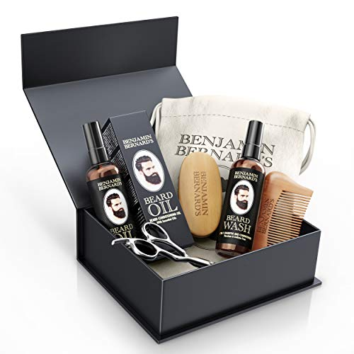 Beard Grooming Kit by Benjamin Bernard - Scissors, Oil, Wash, Wooden Comb and Brush Package Set - Natural Skin Moisturizer, Cleanser and Conditioner - Complete Moustache Growth Care Gift Box for Men …